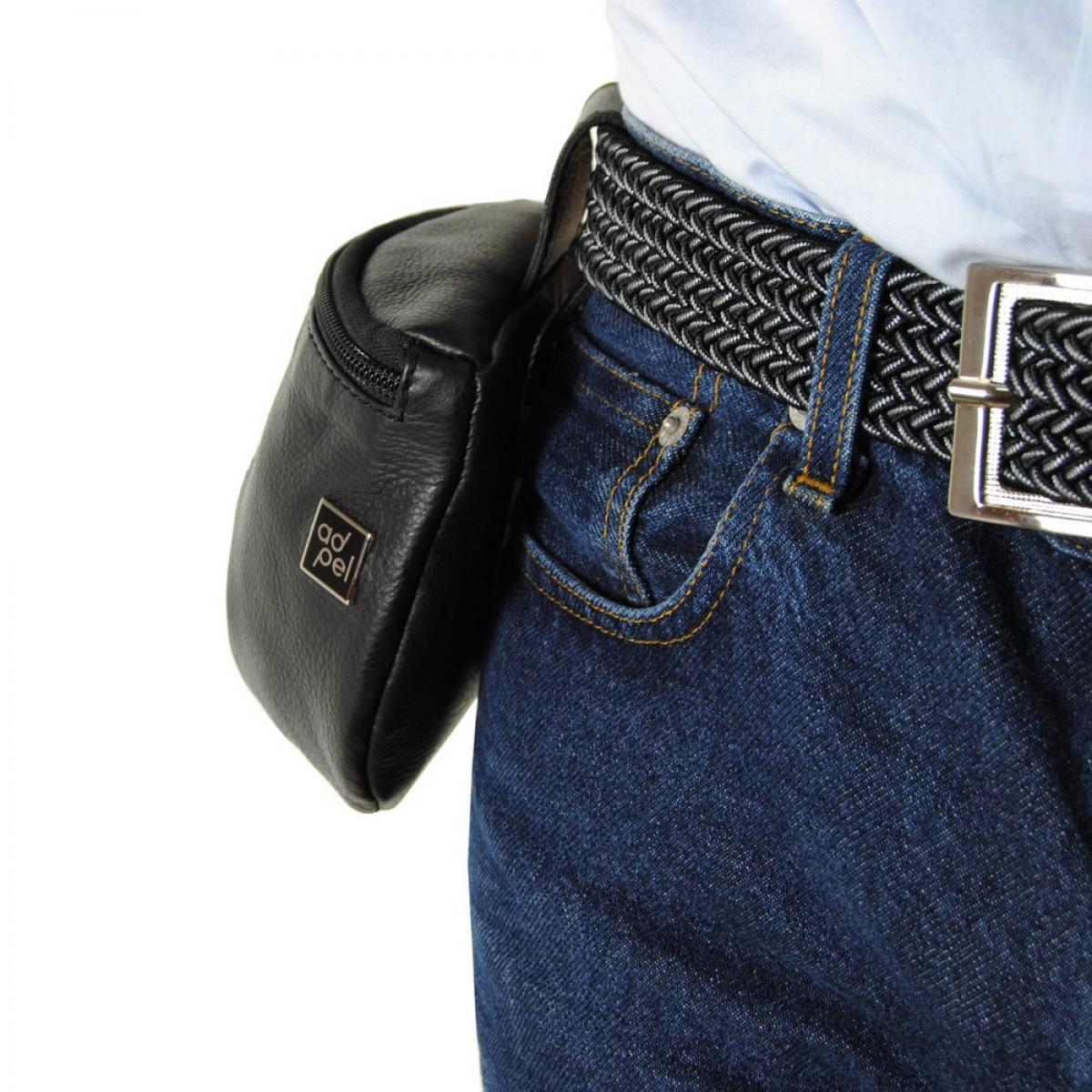 Marsupio da cintura borsello tasca in pelle 13cm nero - Porta metro da cintura ...