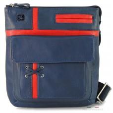 Borsello a tracolla con tascone Blu e Rosso 25cm