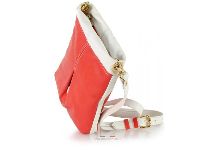 Tracollina Donna in pelle Rosso e Bianco 21x25cm