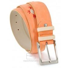 Cintura vera pelle Nubuk morbido con inserti a mano Arancio