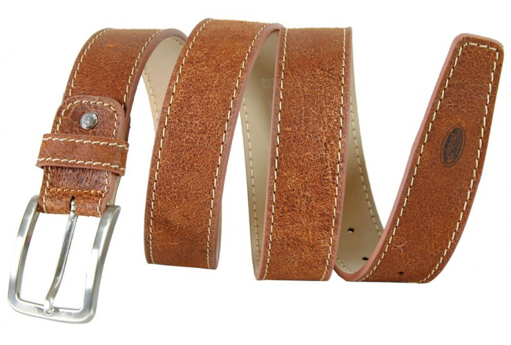 Vintage stone brushed leather belt made in Italy mm.35 Chestnut