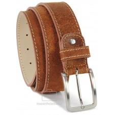 Cintura Vintage in vera pelle consumata, Castagno