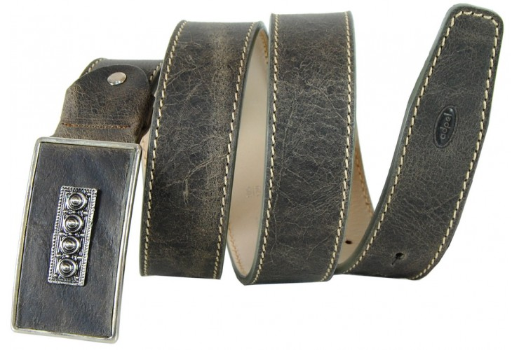 Vintage stone brushed leather belt made in Italy 4cm Petrol