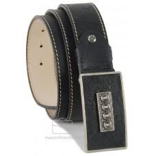 Cintura Vintage in pelle consumata, fibbia rivestita 4cm (Nero)