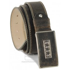 Cintura in pelle consumata Vintage fibbia rivestita 4cm Petrolio