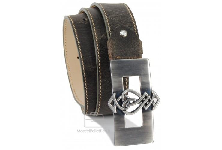 Cintura Vintage in pelle consumata, fibbia country 4cm (Petrolio)