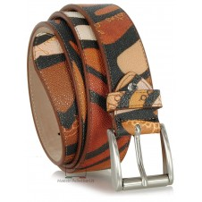 Leather belt fashion colorful mosaic Brown