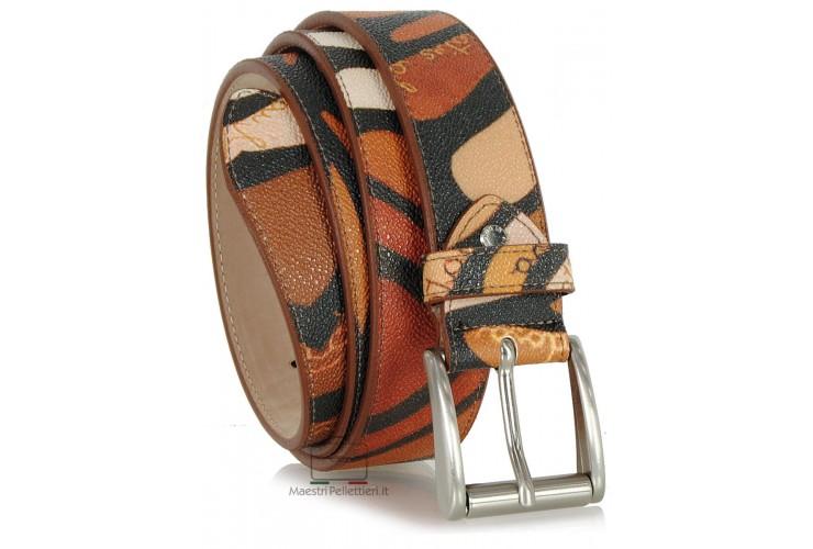 Cintura moda in Cuoio colorato mosaico Marrone