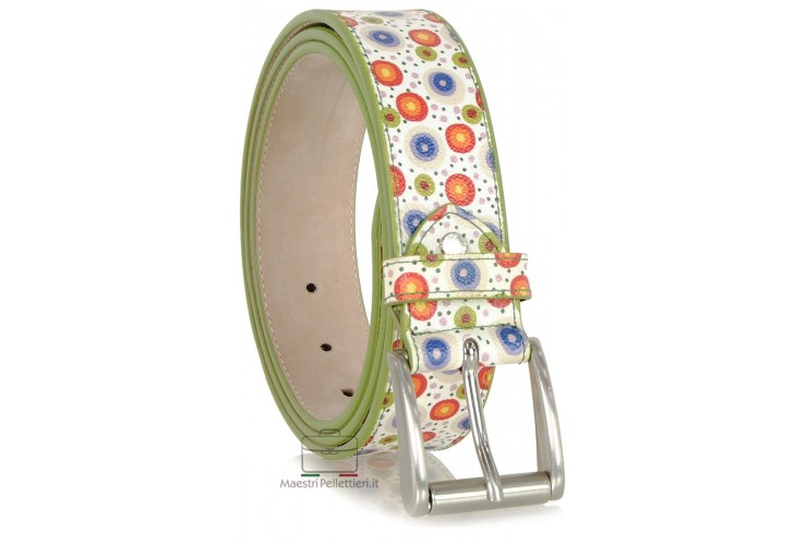 Leather belt fashion colorful flowers White
