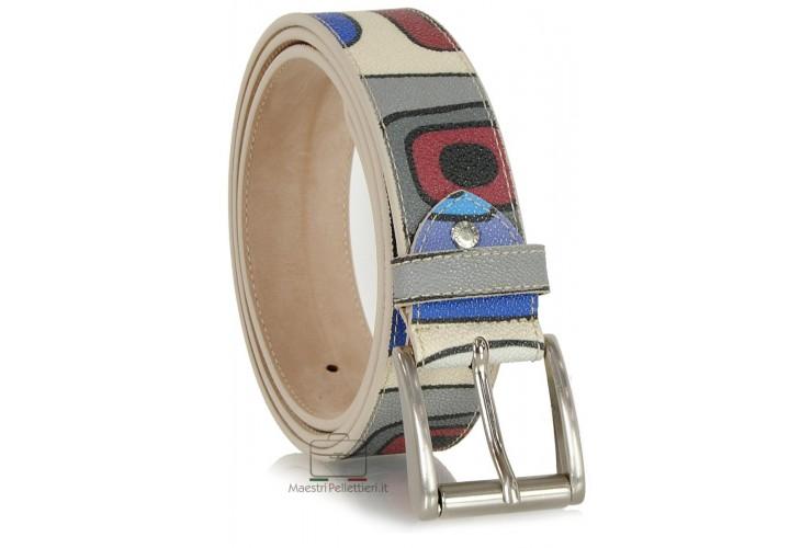 Leather belt fashion colorful mosaic White