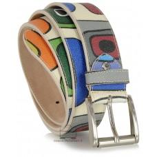 Cintura moda in Cuoio colorato mosaico Bianco