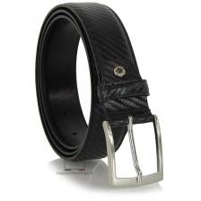 Cintura uomo elegante in pelle stampa CARBONIO, Nero