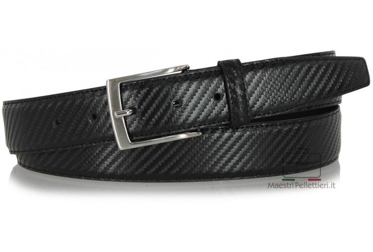 Man's belt elegant carbon design leather Black