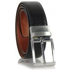 Cintura double face reversibile in pelle Carbonio Nero e Vacchetta Cognac