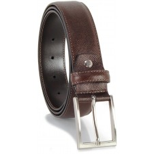 Cintura elegante in pelle SAFFIANO, fibbia satinata, Marrone/Moka