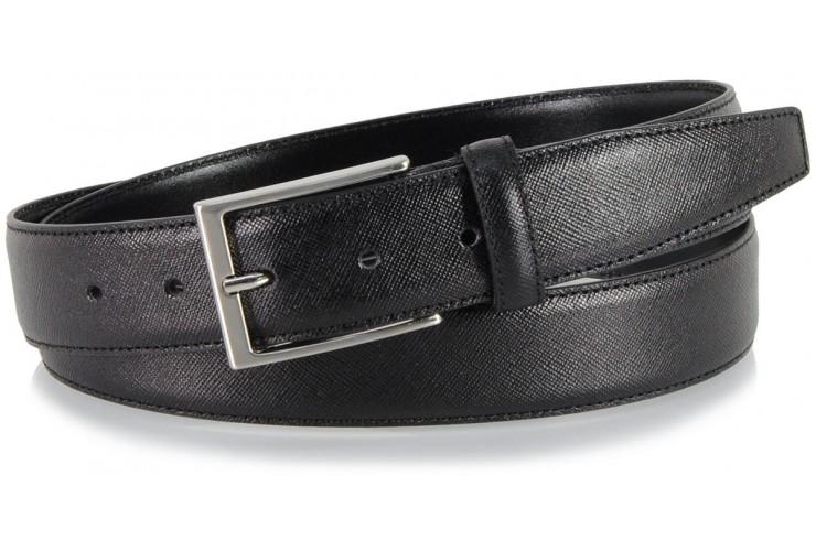 Cintura elegante in pelle SAFFIANO, fibbia satinata, Nero