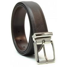 Cintura elegante in pelle SAFFIANO, fibbia lucida, Marrone/Moka