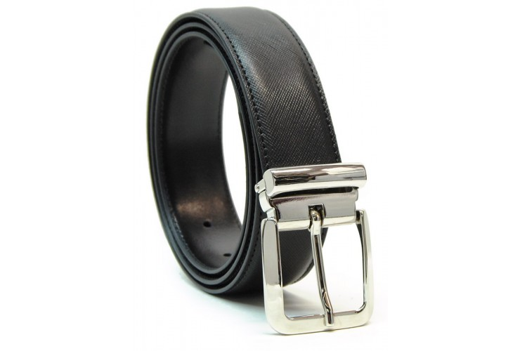 Cintura elegante in pelle SAFFIANO, fibbia lucida, Nero