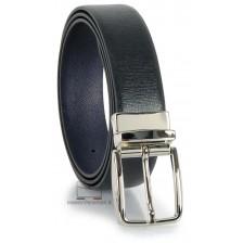 Cintura double face reversibile in pelle Saffiano Nero e Blu