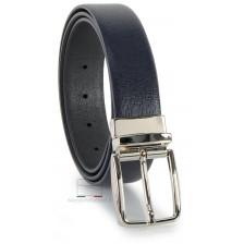 Cintura double face reversibile in pelle Saffiano Blu e Grigio