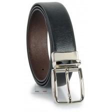 Cintura double face reversibile in pelle Saffiano Nero e Marrone XL extra lunga