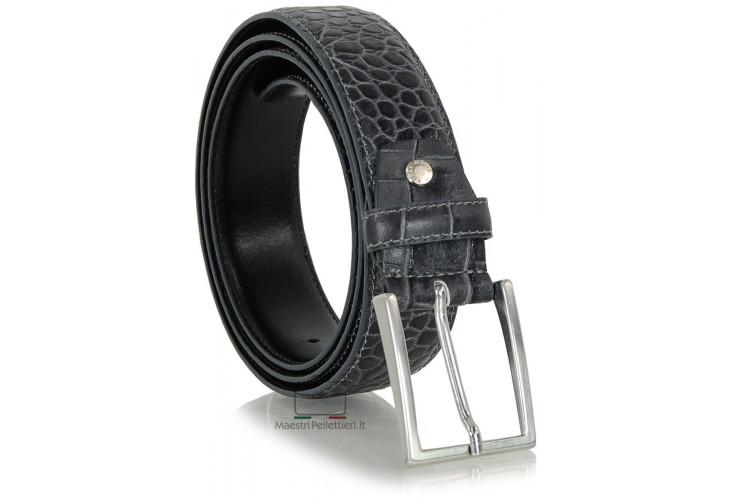 Cintura elegante e da cerimonia in pelle stampa COCCODRILLO, Grigio antracite