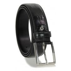 Cintura elegante e da cerimonia in pelle stampa COCCODRILLO, Nero