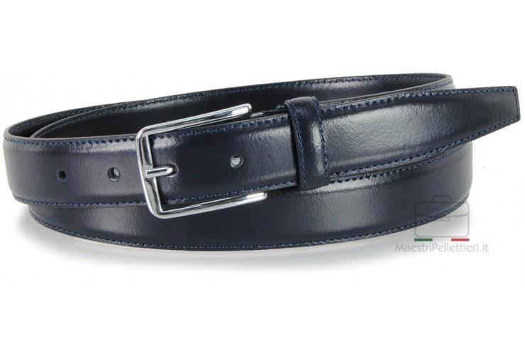 Cintura elegante da 3 cm per abiti e tailleurs in pelle LISCIA Blu