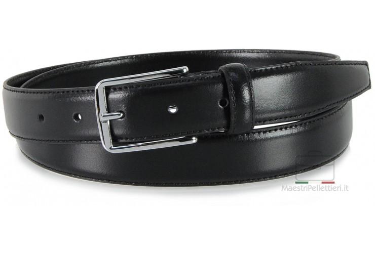 Cintura elegante da 3 cm per abiti e tailleurs in pelle LISCIA Nera