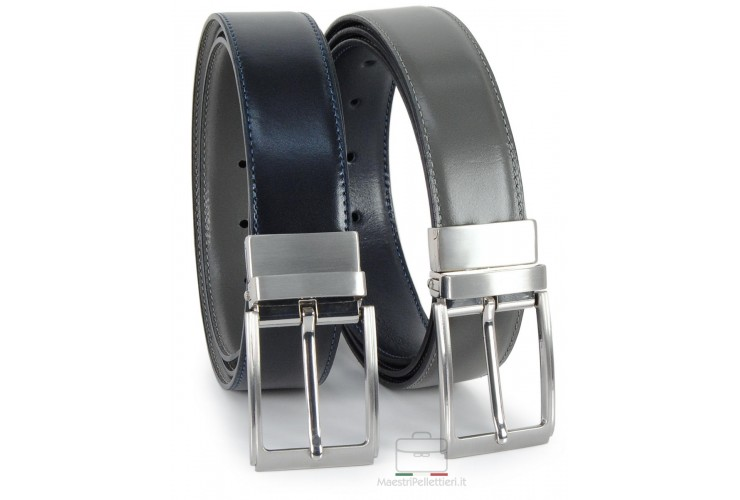 Cintura double face reversibile in pelle Blu e Grigio