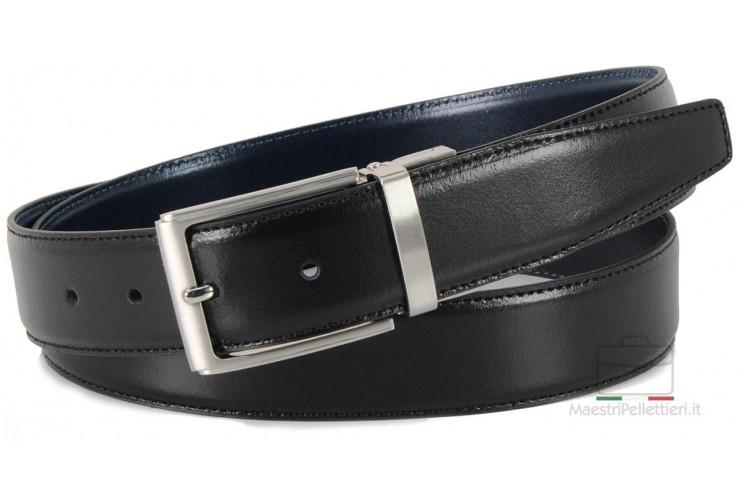 Cintura double face reversibile in pelle Blu e Nero