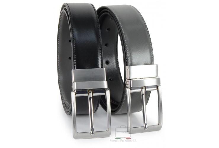 Cintura double face reversibile in pelle Nera e Grigia