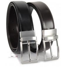 Cintura double face reversibile in pelle Nera e Marrone XL extra lunga