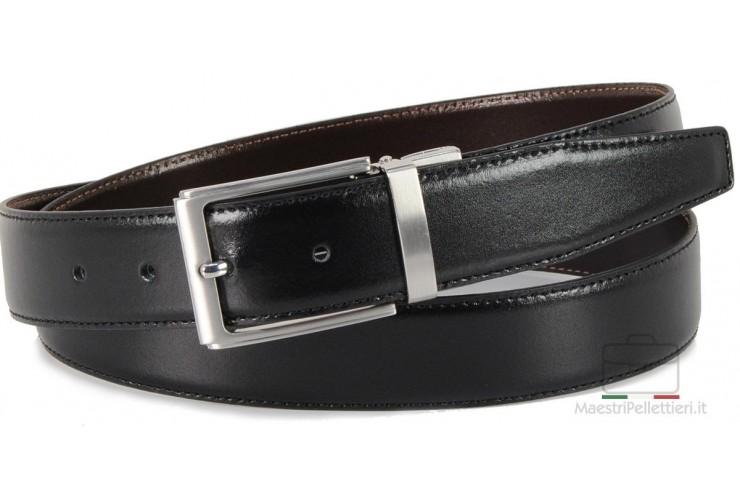 Cintura double face reversibile in pelle Nera e Marrone