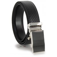 Men's belt with automatic buckle, double side leather Carbon and smooth Black