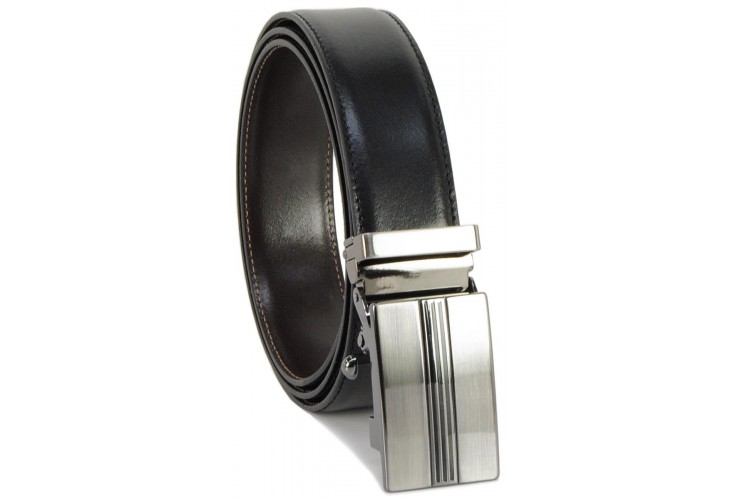 Men's belt with automatic buckle, double colour leatherBlack and Brown