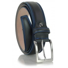 Classic and elegant belt in soft calf leather, double stitching and squared tip, Blue