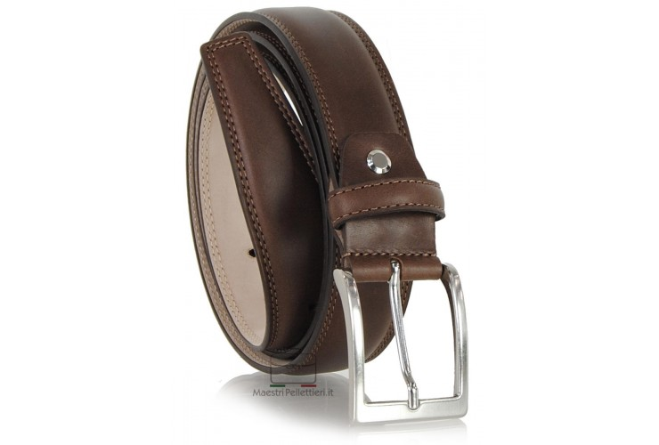 Classic and elegant belt in soft calf leather, double stitching and squared tip, Brown