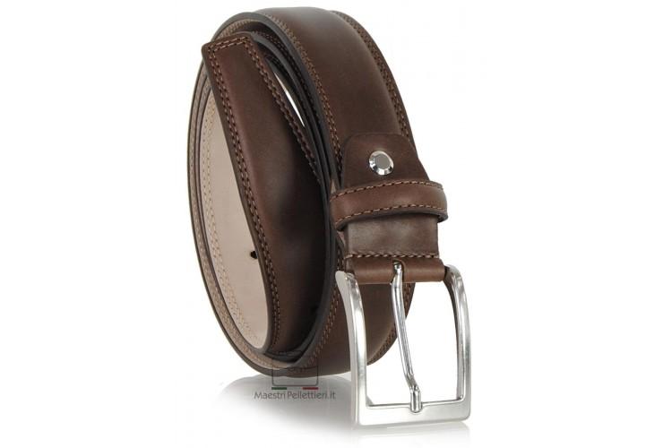 Cintura classica elegante in vitello morbido, punta quadra, Marrone