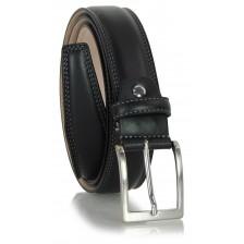 Cintura classica elegante in vitello morbido, punta quadra, Nero