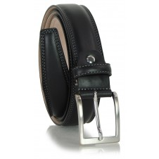 Classic and elegant belt in soft calf leather, double stitching and squared tip, Black