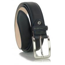 Cintura classica ed elegante in vitello morbido, punta scudo, Blu
