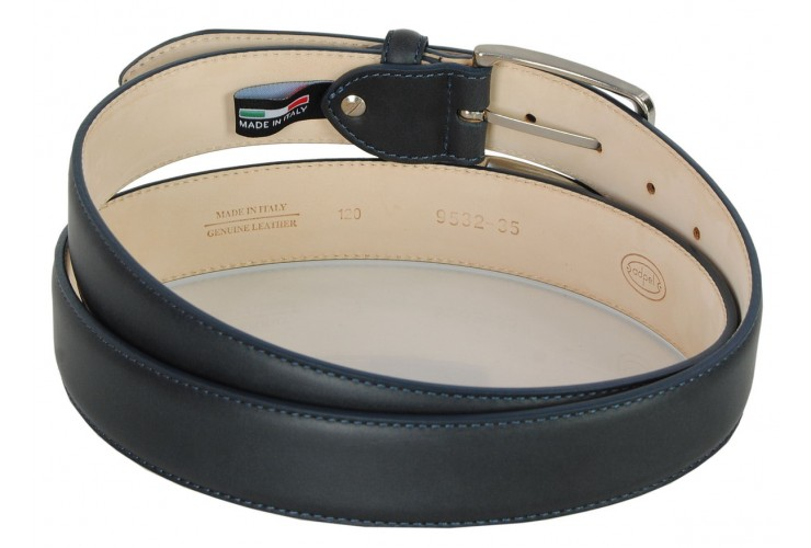 Classic men's belt in soft italian leather, shield tip Blue