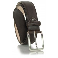 Classic men's belt in soft italian leather, shield tip Brown