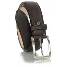 Cintura classica ed elegante in vitello morbido, punta scudo, Marrone