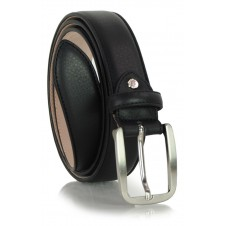 Classic men's belt in soft italian leather, shield tip Black