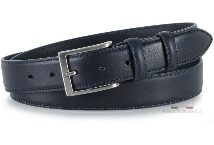 Klassisch Herren Gürtel Rindsleder Blau XL extra groß
