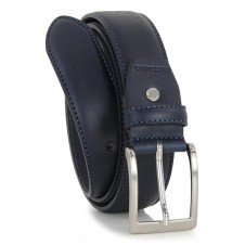 Classic plain leather calf belt Blu XL extra large