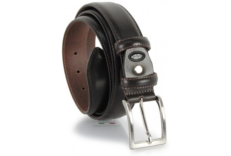 Classic plain leather calf belt Brown