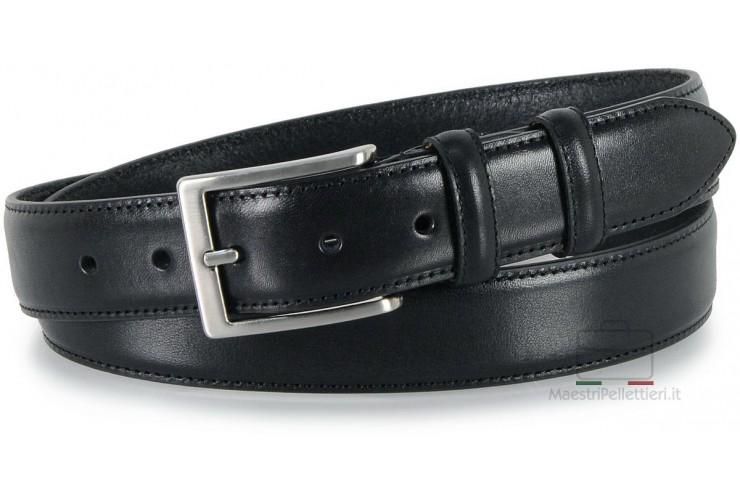 Cintura classica in pelle liscia Nero XL extra lunga